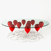 3d model of balloon table red