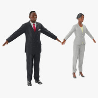 3ds max rigged african american business people