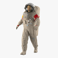 chinese astronaut wearing space suit 3d max