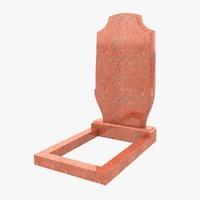 granite headstone 2 3d model