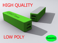 3d model green power bank 2600