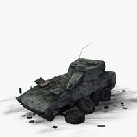 wrecked military vehicle amos 3d model