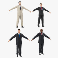 3d businessmans set african model