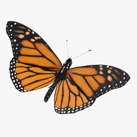 monarch butterfly standing v2 3d model