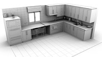 kitchen chairs microwave 3d obj