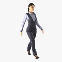 3ds max asian business woman rigged
