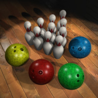 3d bowling balls pins model