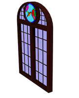 3d model tudor stained glass window