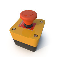 3d model emergency button red