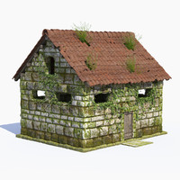 3d hi-poly fantasy stone building model