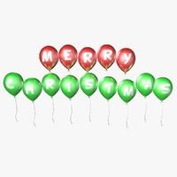 balloons merry christmas - 3d model