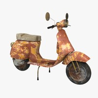 3d model vespa old dirty