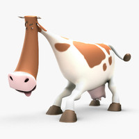 3d cartoon cow rigged
