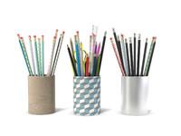 3 Pot pencils 3 Pots a crayons ciseaux regles