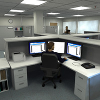 office building modular suite 3d model