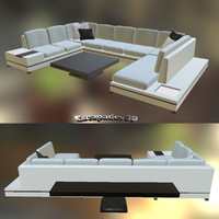 Modern Style Couch with Tables