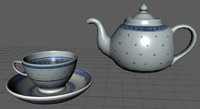 3d chinese tea set