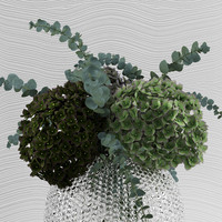 bouquet hydrangeas baby blue 3d model