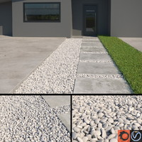 3d white pebbles model
