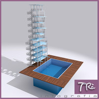 3dsmax diving pool outdoor