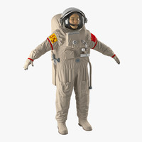 3d chinese astronaut wearing space suit model