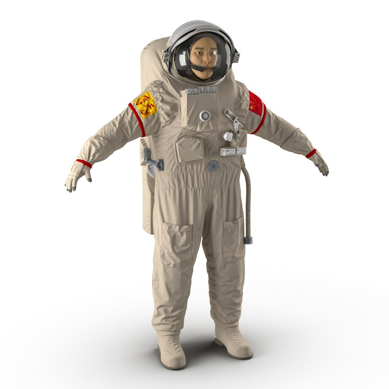 Chinese Astronaut Wearing Space Suit Feitian 3d model 01.jpg