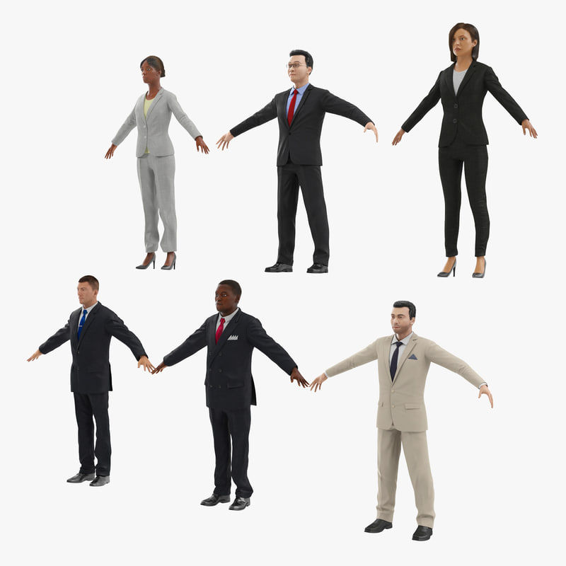 3d Rigged Business People Model