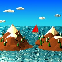 3d cartoon landscape scene model