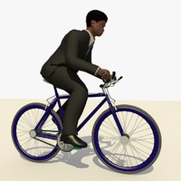 Man With a Black Suit Riding a Bicycle Animated
