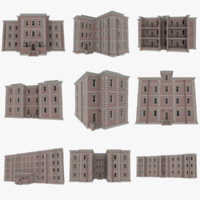 3d set brick apartment buildings model