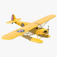 Light Aircraft Piper J 3 Seaplane Yellow
