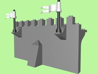 lego castle wall section 3d 3ds