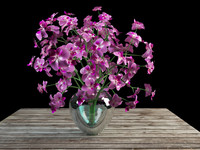 orchid bouquet glass vase 3d 3ds