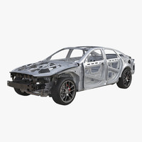 3d car frame chassis 3 model