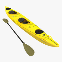 3d model kayak 2 yellow paddle