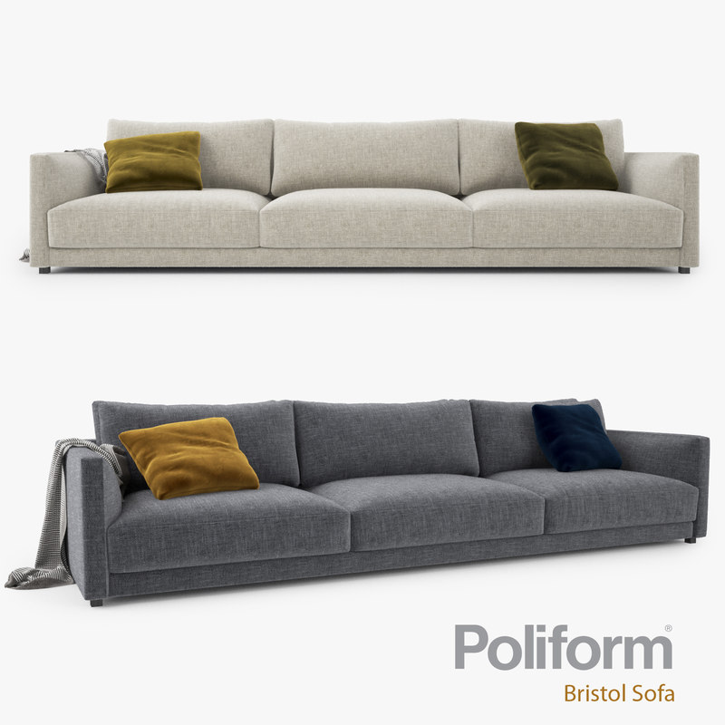 poliform bristol seater sofa 3d max. Black Bedroom Furniture Sets. Home Design Ideas