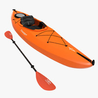 3d kayak orange paddle model