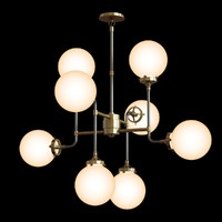 Restoration Hardware BISTRO GLOBE MILK GLASS 8-LIGHT CHANDELIER