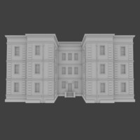 3d brick apartment building interior exterior model