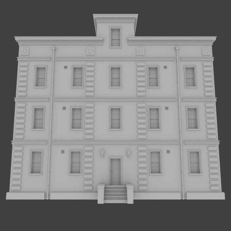 Cheap Apartments Outside Bricks: Brick Apartment Building Interior Exterior 3d Obj