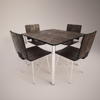 3d model rustic chairs table