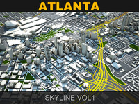3d model of atlanta skyline