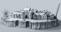 ready fantasy island castle 3d max