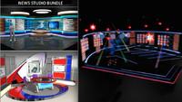 3d tv news studio set