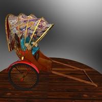 3d chinese rickshaw model
