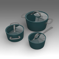 kitchen pot set 3d fbx