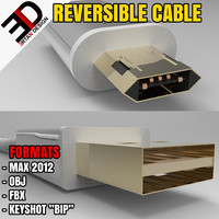 reversible micro - usb cable 3d model