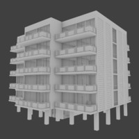 apartment building interior exterior 3d model