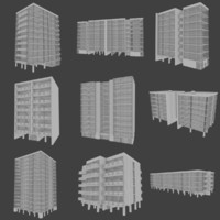 modernist apartment buildings interiors 3d model