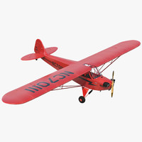 Light Aircraft Piper J 3 Red